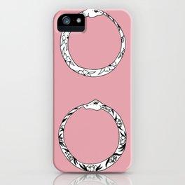 Ouroboros Floral Double Snake Design iPhone Case