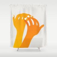 hands Shower Curtains featuring hands by alex eben meyer
