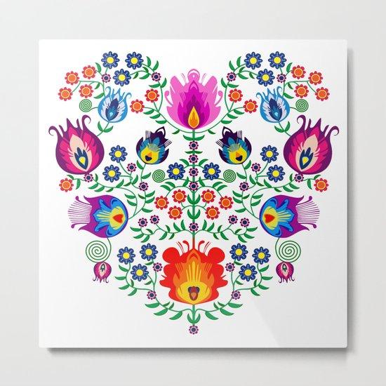 Folk Pattern - Flower Metal Print
