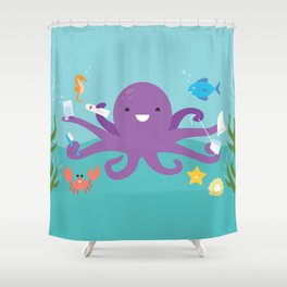 Under the Sea Octopus and Friends Shower Curtain