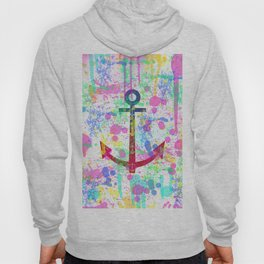 Modern abstract colorful watercolor nautical anchor splatters Hoody