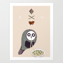 Spaghetti Owl (Diptych) Art Print