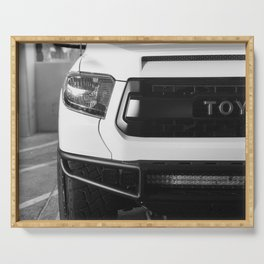 """""""TOY"""" Tundra // Black and White Monster Truck Geared Out Big Wheels Matte Black Grille Serving Tray"""