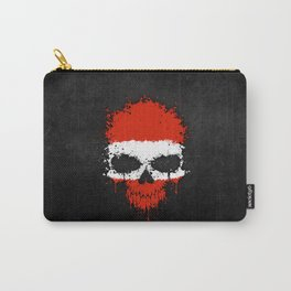 Flag of Austria on a Chaotic Splatter Skull Carry-All Pouch