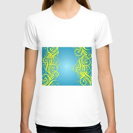 Abstract blue-yellow background T-shirt