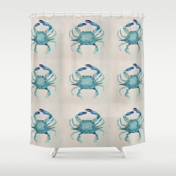 Atlantic Blue Crab Shower Curtain By Annmariecoolick