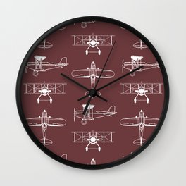 Biplanes // Tosca Red Wall Clock
