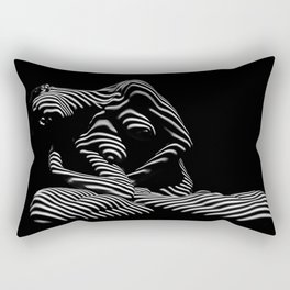 0177-DJA  Nude Woman Yoga Black White Abstract Curves Expressive Lines Slim Fit Girl Zebra Rectangular Pillow