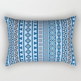 Aztec Influence Pattern II Blues Black White Rectangular Pillow