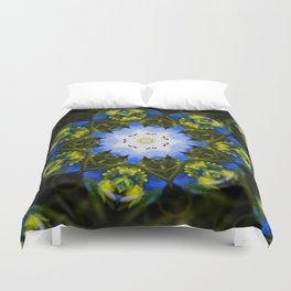 Kaleidoscopic Mandala Baby Blue Eyes Flower Duvet Cover