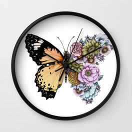 Butterfly in Bloom II Wall Clock