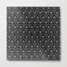 Hand Drawn Hypercube Black Metal Print