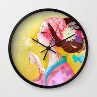 flora Wall Clocks featuring Flora by Sybile Art