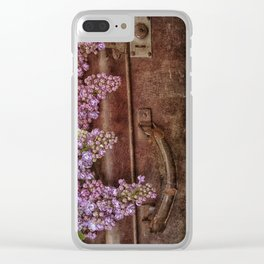 Vacation in the spring- lilac and vintage suitcase Clear iPhone Case