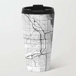 Chicago Map Gray Metal Travel Mug