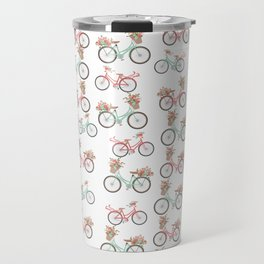 vintage pastel pink coral bicycle floral pattern Travel Mug