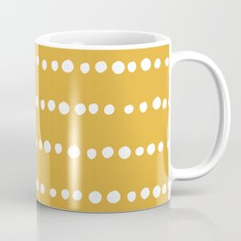 Spotted, Mudcloth, Mustard Yellow, Boho Prints Coffee Mug