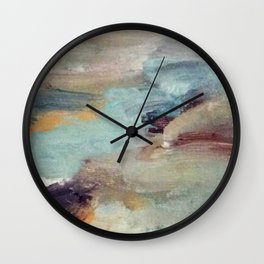 Gentle Beauty [5] - an elegant acrylic piece in deep purple, red, gold, and white Wall Clock