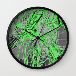 Electric Orbs - Green Wall Clock