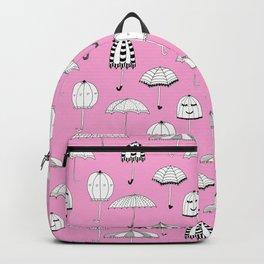 Happy Umbrellas Pattern - pink Backpack