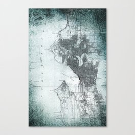 Vintage Seattle City Map Canvas Print