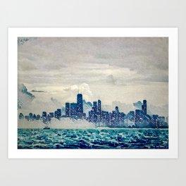 Blue Wave Chicago Art Print