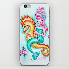 Pink Bouffant Mermaid Riding a Seahorse iPhone Skin