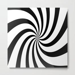 Spiral (Black & White Pattern) Metal Print