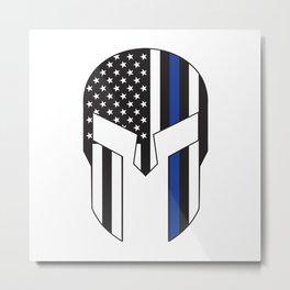 Gladiator Helmet American Flag Thin Blue Line Metal Print