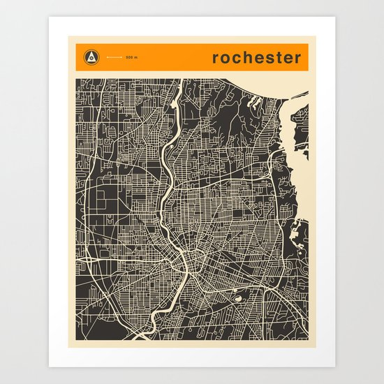 Rochester Map Art Print