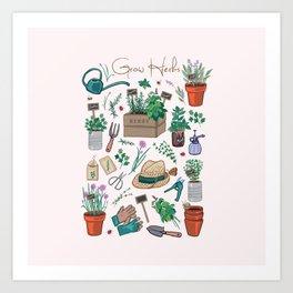 Grow A Herb Garden Art Print