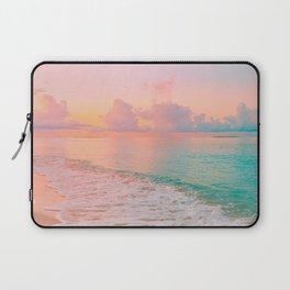 Beautiful: Aqua, Turquoise, Pink, Sunset Relaxing, Peaceful, Coastal Seashore Laptop Sleeve