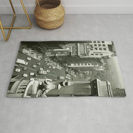 Fifth Avenue, New York City, B&W, high angle view 1950s vintage photo Rug