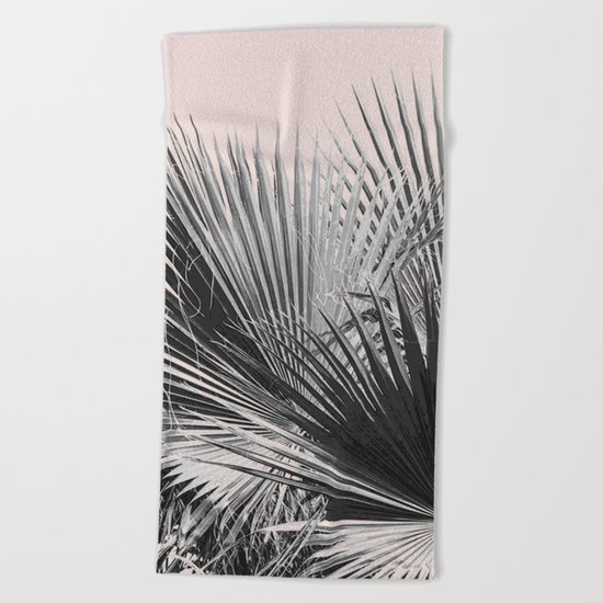Palm leaves in pink Beach Towel