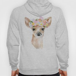 Deer Fawn Floral Watercolor Hoody