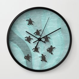 Loggerhead sea turtle hatchlings Wall Clock
