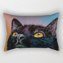 Black Cat Butterfly Rectangular Pillow