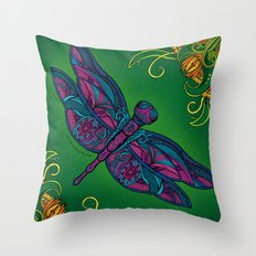 Dragonfly. Fly with me through the wind. Throw Pillow