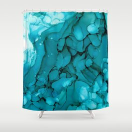 Turquoise Dip Abstract: Original Alcohol Ink Painting by Herzart Shower Curtain