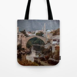 An Old bridge in Mostar Tote Bag