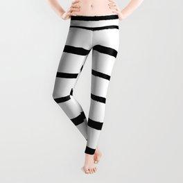 Black and White Rough Organic Stripes Leggings