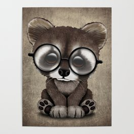 Cute Nerdy Raccoon Wearing Glasses Poster