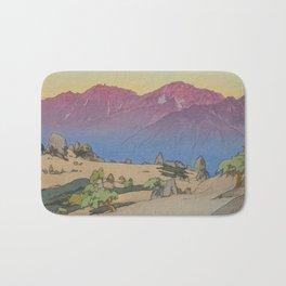 Mano and Notori Mountains Hiroshi Yoshida Vintage Japanese Woodblock Print Bath Mat