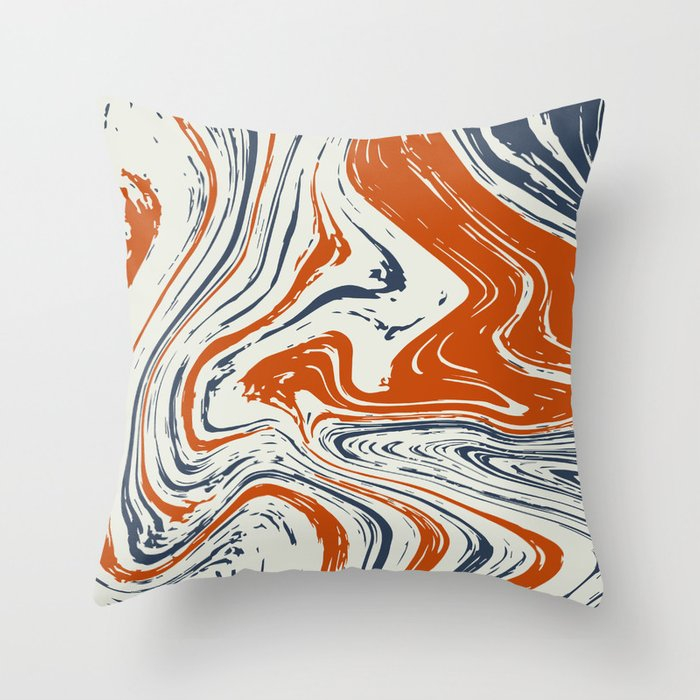 Blue And Orange Marble Abstract Texture Pattern Throw Pillow By Mani1705 Society6