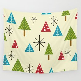 Mid Century Modern Christmas Trees Wall Tapestry