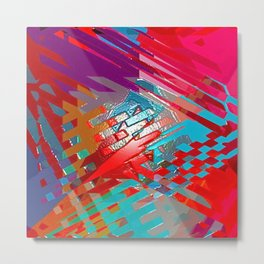 Abstract pink blue purple patchwork design Metal Print