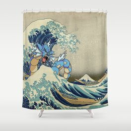 The Great Wave Off Gyarados Shower Curtain
