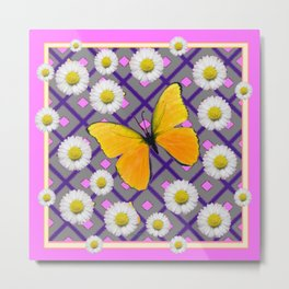 Yellow Butterfly on Lilac-pink Shasta Daisy Grey Abstract Pattern Metal Print
