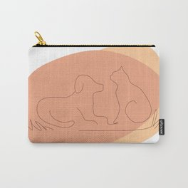 Cat and Dog Lover Line Drawing Carry-All Pouch