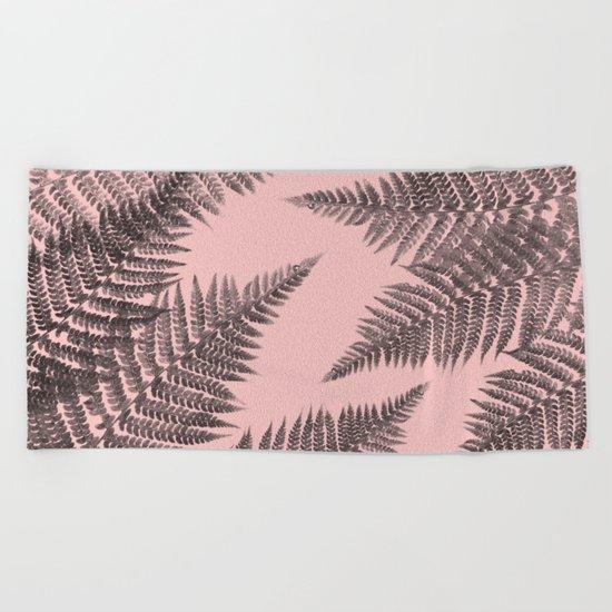 Ferns on Pink Beach Towel